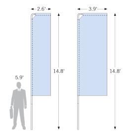 Portable Flag Pole Graphic Sizes