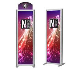 Tension Fabric Banner Stand With Aluminum Frame and Curved Graphic Header