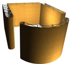 Curved Perimeter Using Pop Up Displays