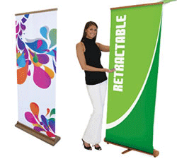 green banner displays