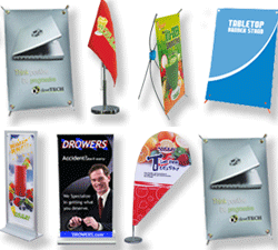 mini table top banner stands