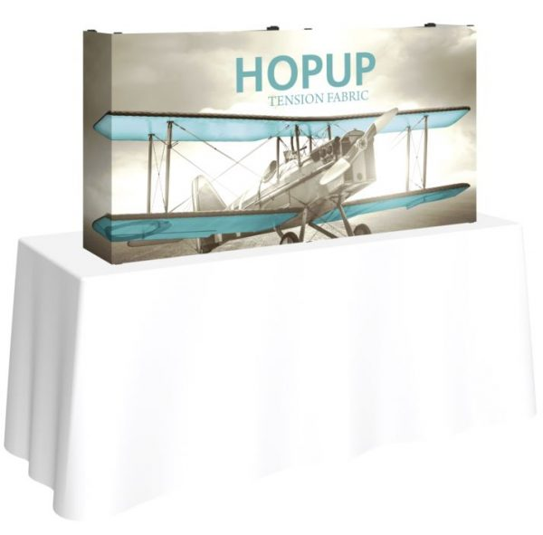 5ft tabletop hopup display with end caps