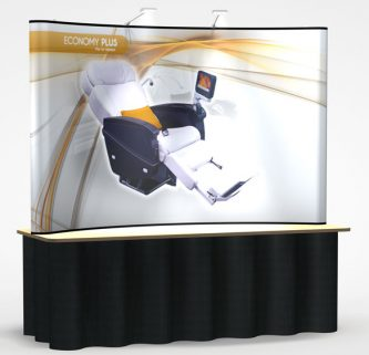 8' Economy Plus Pop Up Display with full graphics and lights