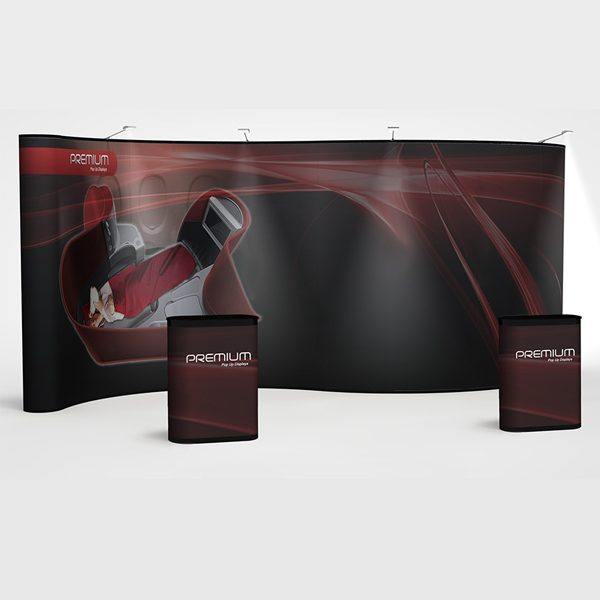 20' Premium serpentine pop up exhibit kit with fully printed graphics and podiums