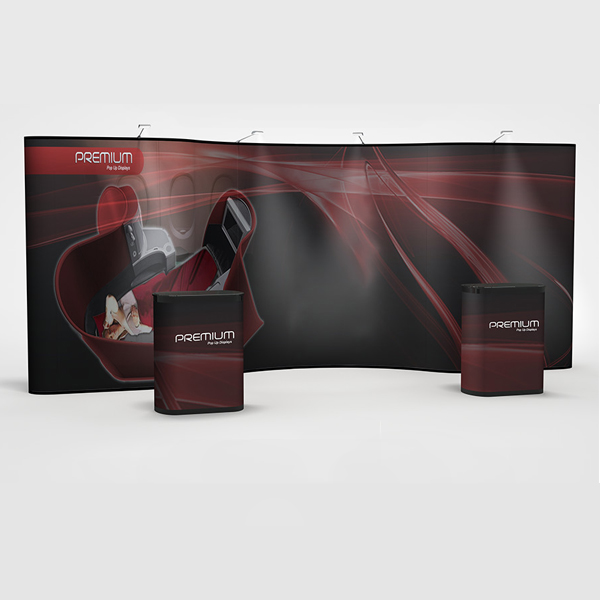 Premium 20' pop up displays with a curve center and straight wings. All graphics.