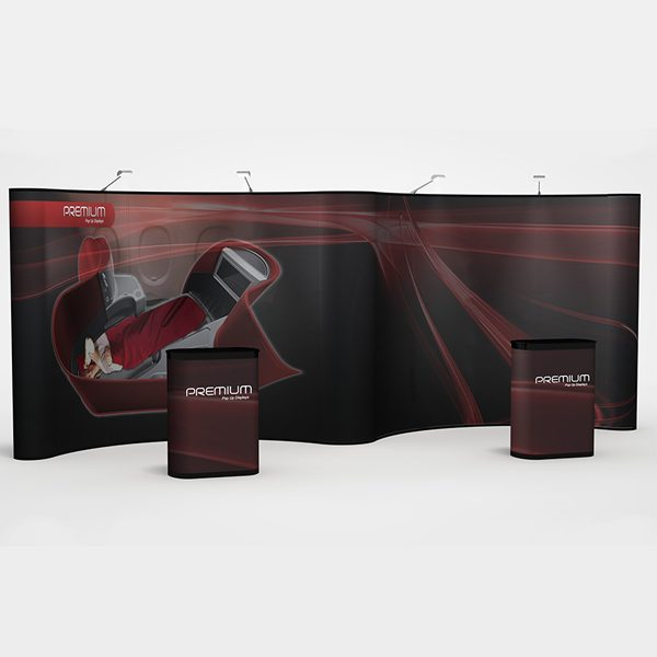 20' gullwing pop up display Premium with fully printed graphics panels and podium kits