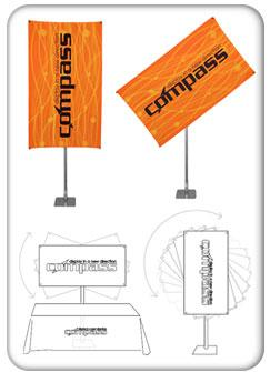compass rotating banner stand