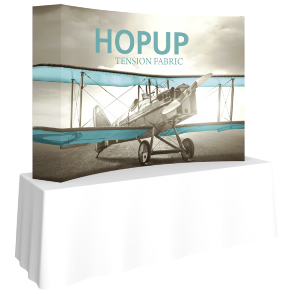 hopup 8 ft curved tension fabric display with end caps