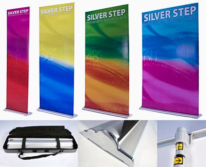 Silver Step Banner Stands