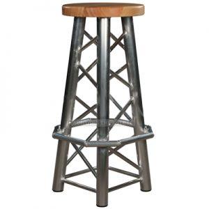 Truss Stool Wood Seat Straight Legs Footrest