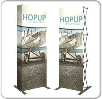 2.5ft full height hopup tensions fabric display available with and without end caps