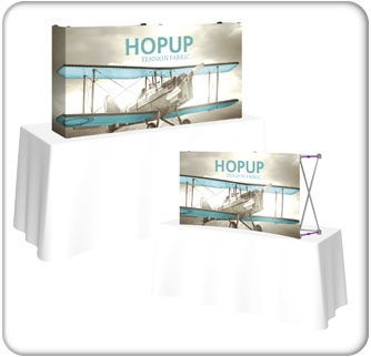 Hopup 5ft table top display with tension fabric graphics and a straight or curved option