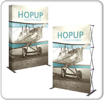 5ft full height tension fabric display available in curved or straight style