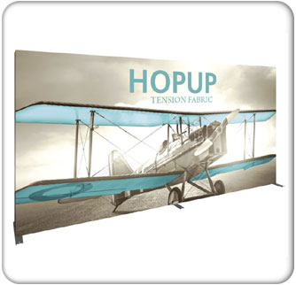 HopUp 6x3 15ft inline tension fabric display with endcaps