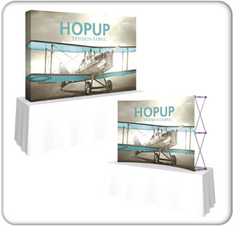 Hopup 8ft full height tension fabric display available in a straight and curved style