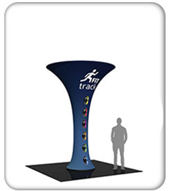 12ft. funnel fabric graphic tower with fit tracking graphics on blue.