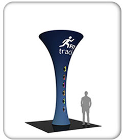 16ft. funnel fabric graphic tower with fit tracking graphics on blue.