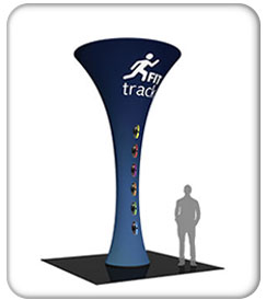 20ft. funnel fabric graphic tower with fit tracking graphics on blue.