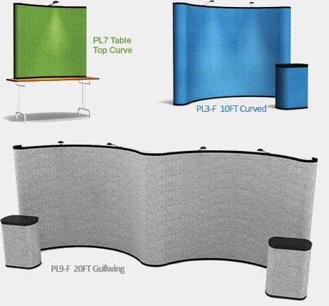 pl7 table top curve, pl3-F 10ft curved and pl9-f 20ft gullwing fabric pop ups