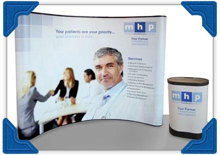10ft curved energy x graphic package with podium