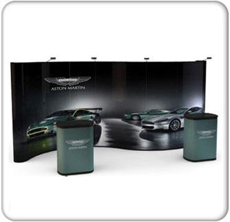20ft serpentine premium pop up graphic package with podium