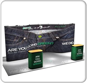 20ft curved with straight ends premium pop up graphic package with podium