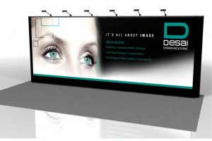 energy x 20 ft straight pop up display with lights