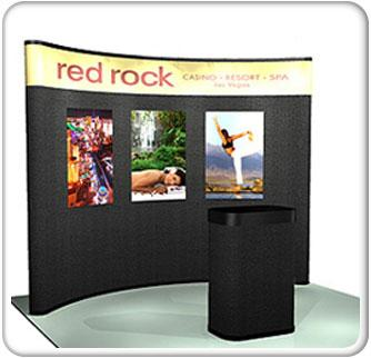 10ft curved budget graphic mural pop up fabric pacakge with laminate graphics and black fabric