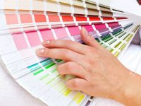 10733068-Color-chart-with-woman-hand-choosing-pink-Stock-Photo
