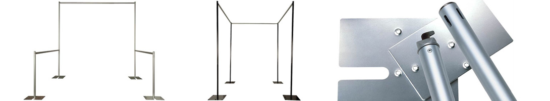 pipe and drape black and silver frames