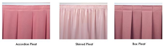 color flat panel shirred table skirting camelback