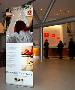 Banner Stands Advertising Lobby