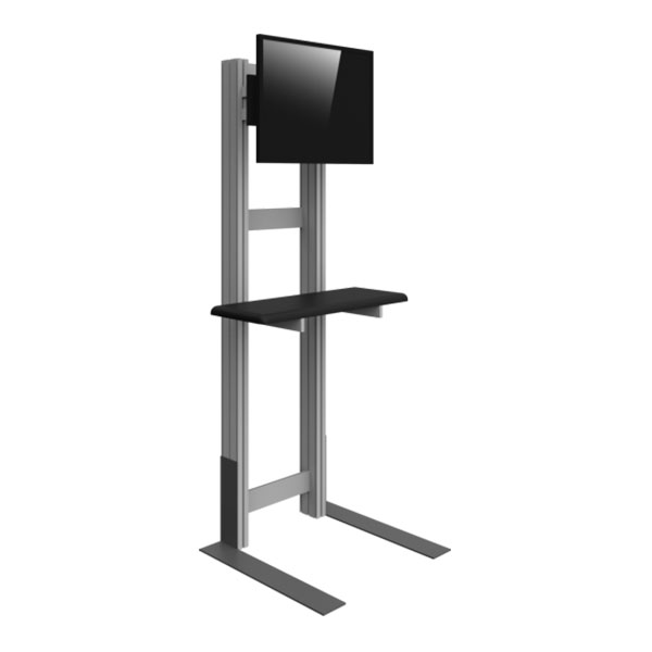 Freestanding Monitor Kiosk With Shelf Side View