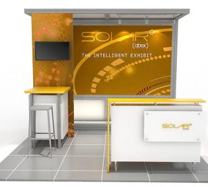 ABX Solar L 10'x10', hybrid trade show displays, Modular displays, hybrid display, hybrid exhibits, hybrid displays, custom modular exhibits