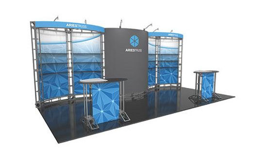 Truss Exhibit with Lighting, Counters, and Monitor Mounts