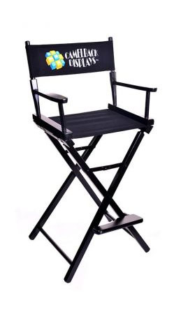 "30"" gold metal contemporary black director chair"