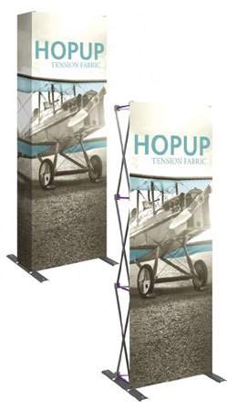 hop up pop up displays with and without end pieces