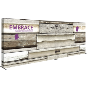 embrace 20ft inline push-fit tension fabric display full fitted graphic