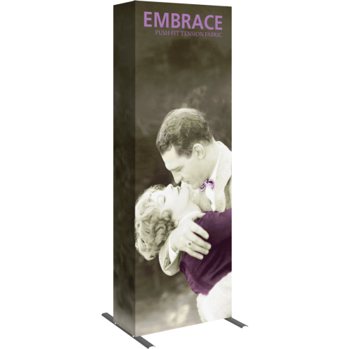 embrace 2.5ft full height push fit tension fabric display full fitted graphic left