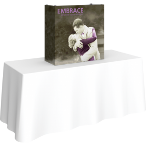 embrace .5ft tabletop push fit tension fabric display full fitted graphic left side