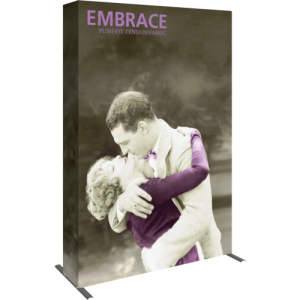 embrace 5ft full height push fit tension fabric display full fitted graphic left