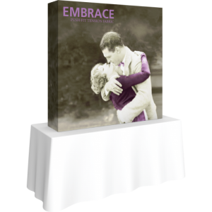 embrace 5ft square tabletop push fit tension fabric display full fitted graphic left
