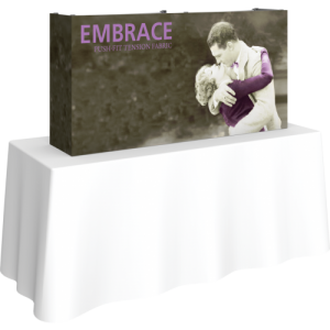 embrace 5ft tabletop push fit tension fabric display full fitted graphic left