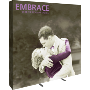 embrace 8ft full height push fit tension fabric display full fitted graphic left