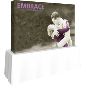 embrace 8ft tabletop push-fit tension fabric display full fitted graphic left