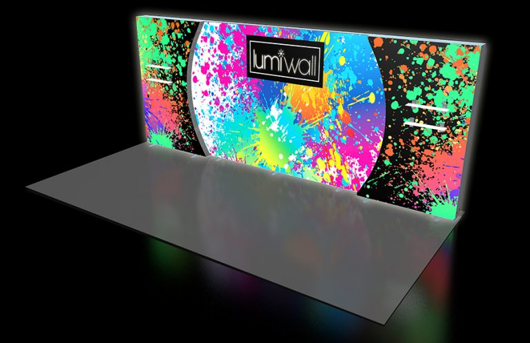 LumiWall Double Curve Accent 20' x 8' LED Backlit Fabric Display