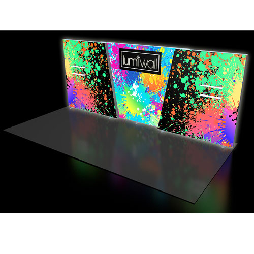 LumiWall Large Trapezoid 20' x 8' LED Backlit Fabric Display