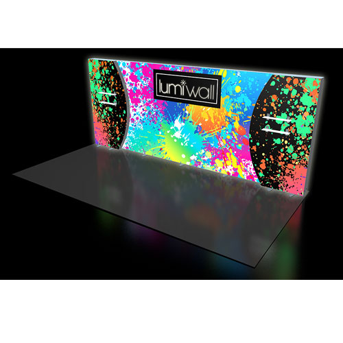 LumiWall Convex Curve Accent 20' x 8' LED Backlit Fabric Display