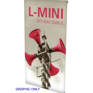 L-Mini Spring Back Banner Stand graphic