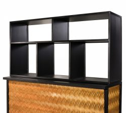 Maxim Bar Shelving is a black shelving unit that is perfect for use as a vertical shelf or a horizontal back bar.